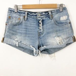 Levi's Distressed Denim Button Fly Shorts size 27